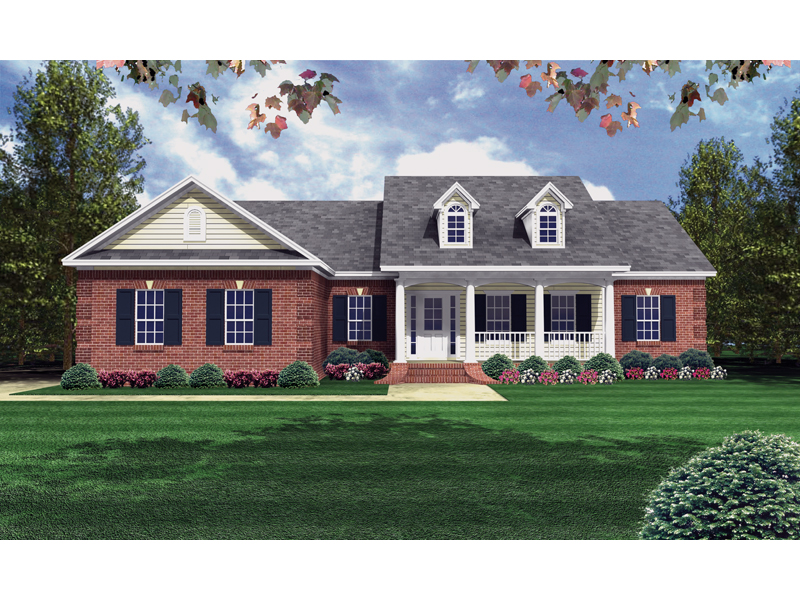 Ranch House Plan Front of Home 077D-0025