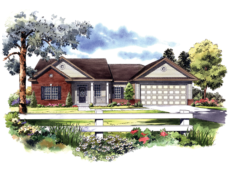 Ranch House Plan Front of Home 077D-0030