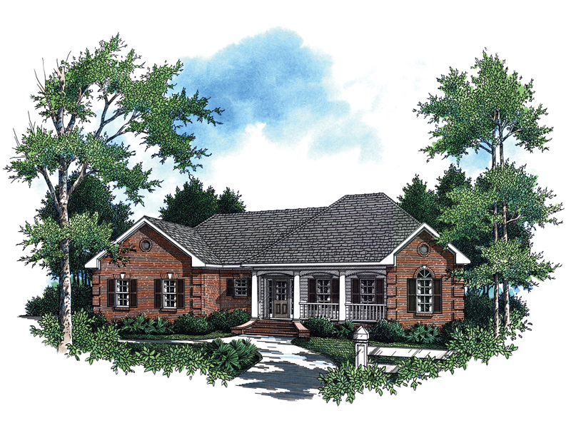 Ranch House Plan Front Image - 077D-0042 | House Plans and More