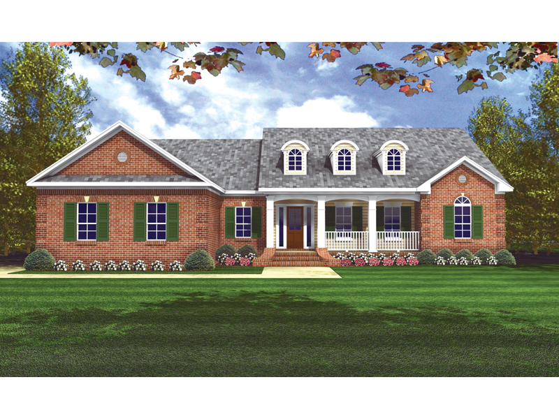 Ranch House Plan Front of Home 077D-0043