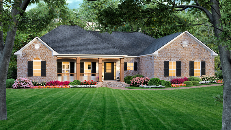 Ranch House Has Hip Roof Design And Inviting Feel