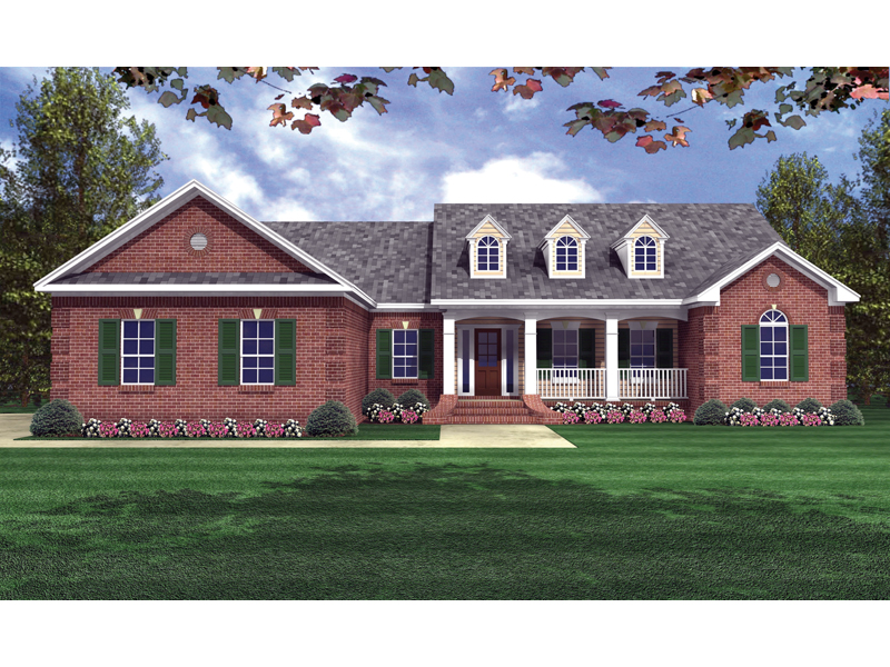 Dillon place ranch home plan 077d 0056 house plans and more for Brick home floor plans with pictures