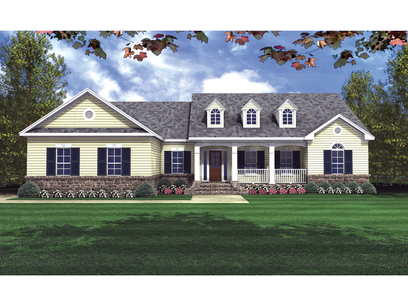Pegasus country ranch home plan 077d 0057 house plans for House plans with dormers and front porch