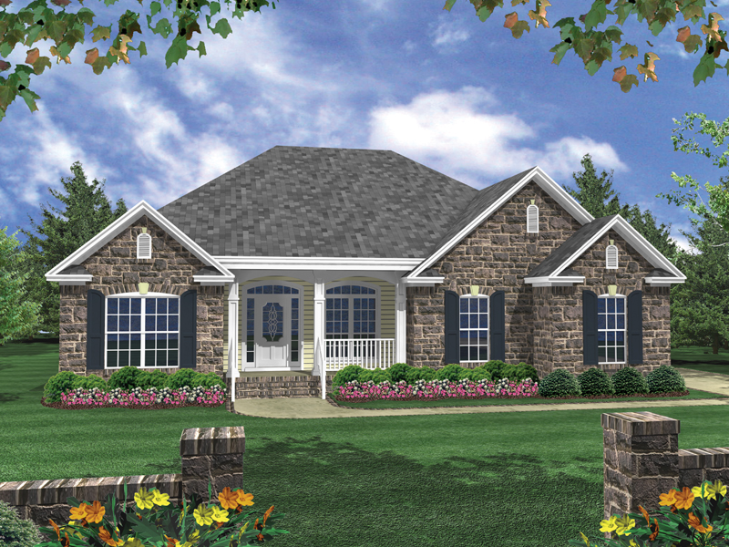 Duchamp ranch home plan 077d 0073 house plans and more for Single story brick house plans
