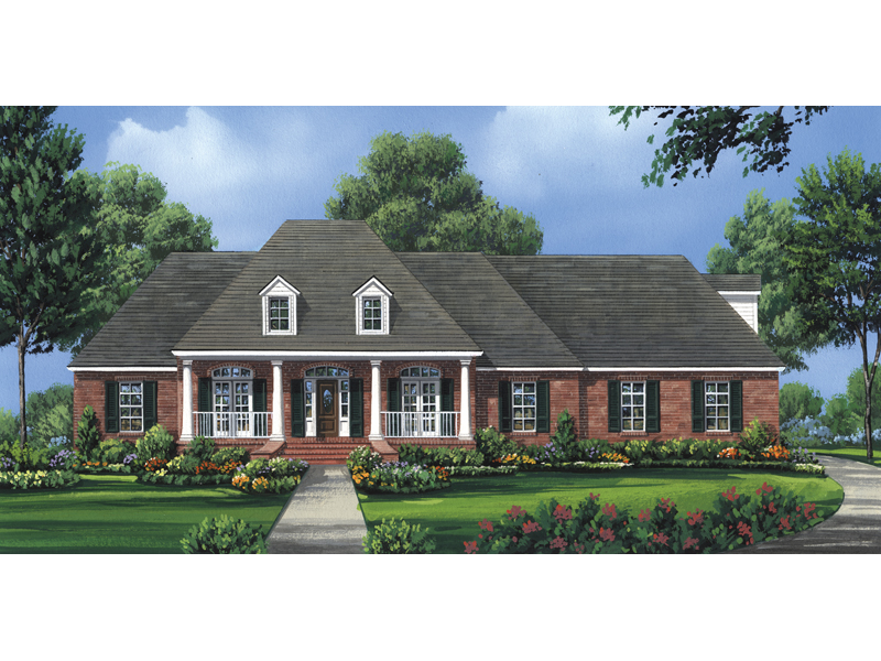 Liberty crossing southern home plan 077d 0076 house for Southern charm house plans