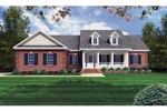 Country Style Home With Double Dormers And Covered Front Porch