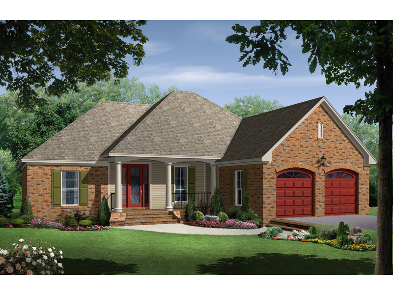 Ranch House Plan Front of Home - 077D-0095 | House Plans and More