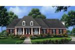 Brick Ranch Equipped With Twin Dormers And Covered Porch