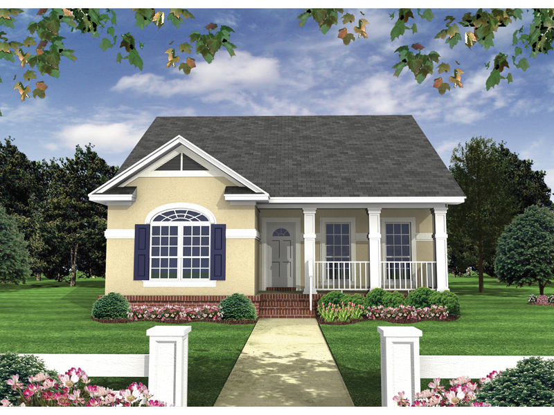 Ranch House Plan Front of Home 077D-0105