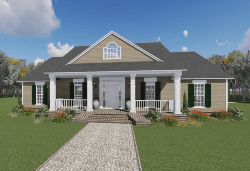 Traditional House Plan Front of Home 077D-0122