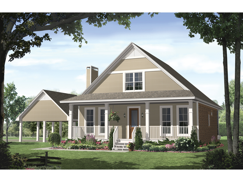 Country House Plan Front of Home 077D-0124