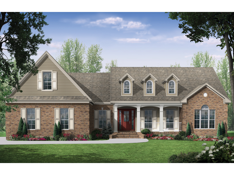 Traditional House Plan Front of Home 077D-0128