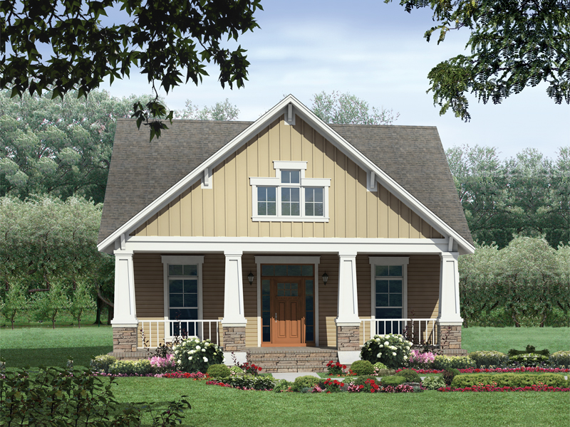 Ranch House Plan Front of Home 077D-0139