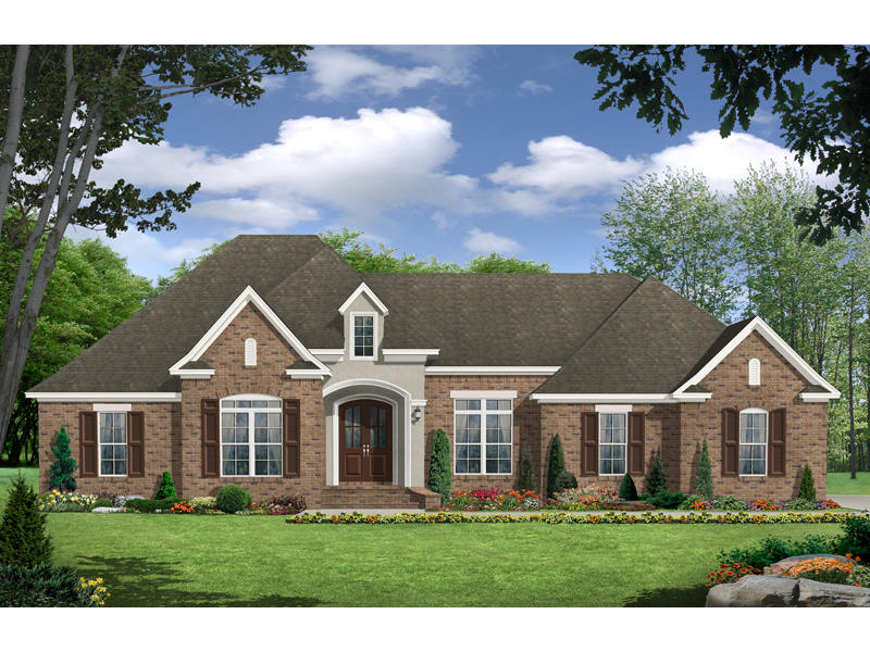 Ranch House Plan Front of Home 077D-0143