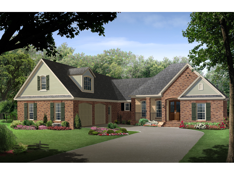 Regency cove traditional home plan 077d 0151 house plans for Side entry garage