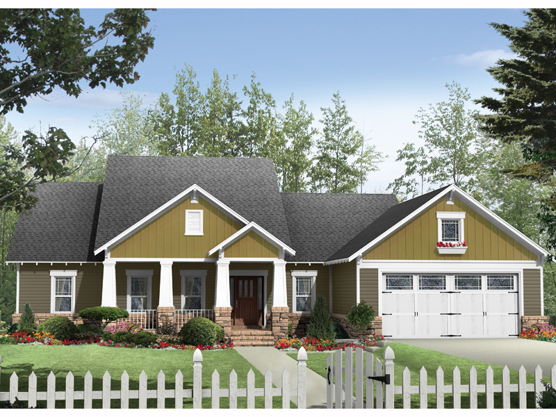 Ranch House Plan Front of Home - 077D-0163 | House Plans and More