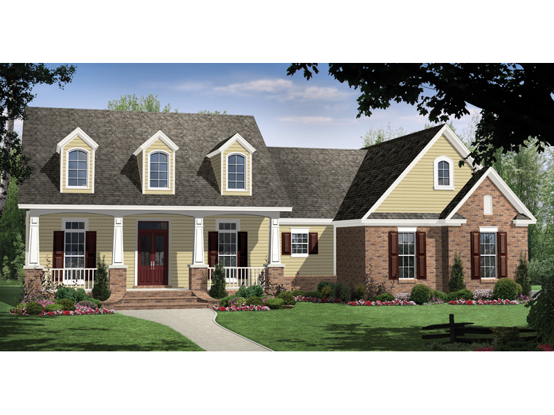 Inviting Home With Spacioius Front Porch And Three Dormers