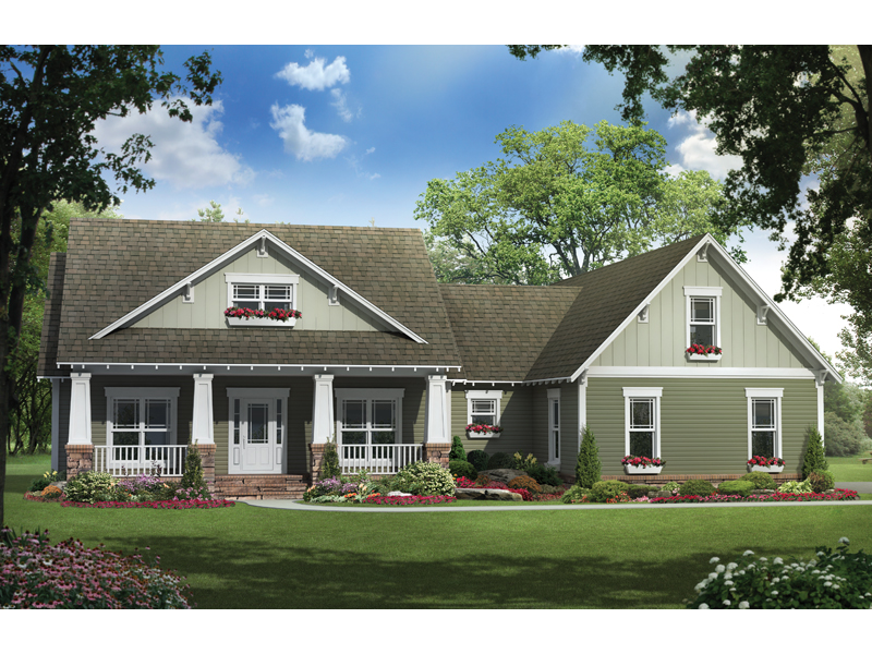 Arts and Crafts House Plan Front of Home 077D-0178