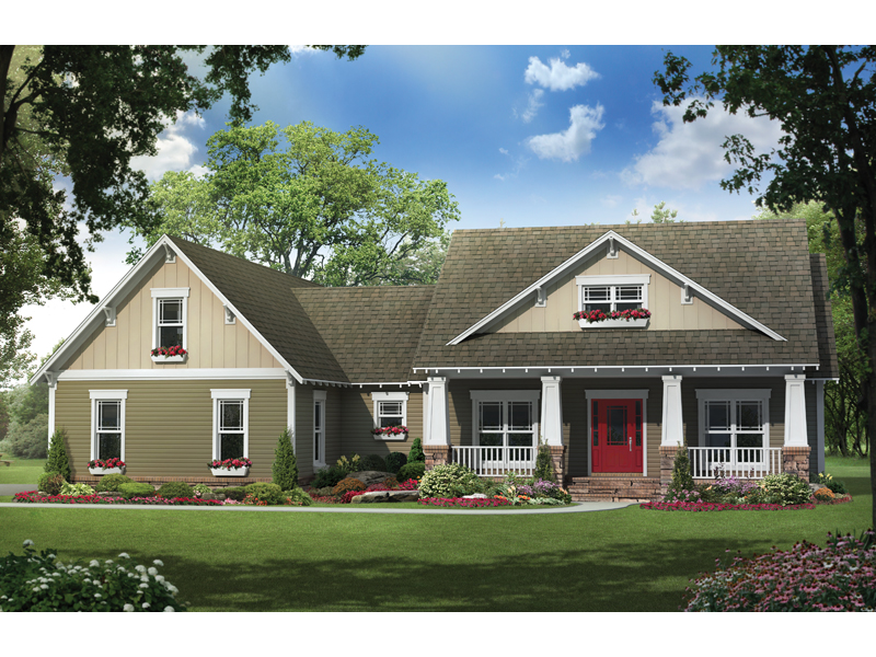Ranch House Plan Front of Home - 077D-0183 | House Plans and More