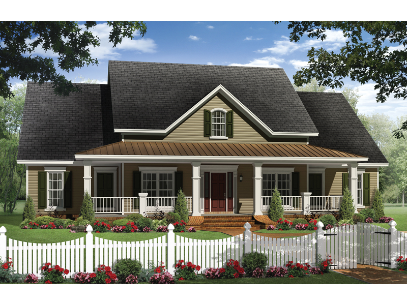 Boschert country ranch home plan 077d 0191 house plans Wide frontage house designs