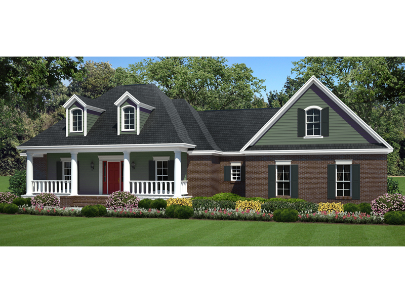 Ranch House Plan Front of Home - 077D-0199 | House Plans and More
