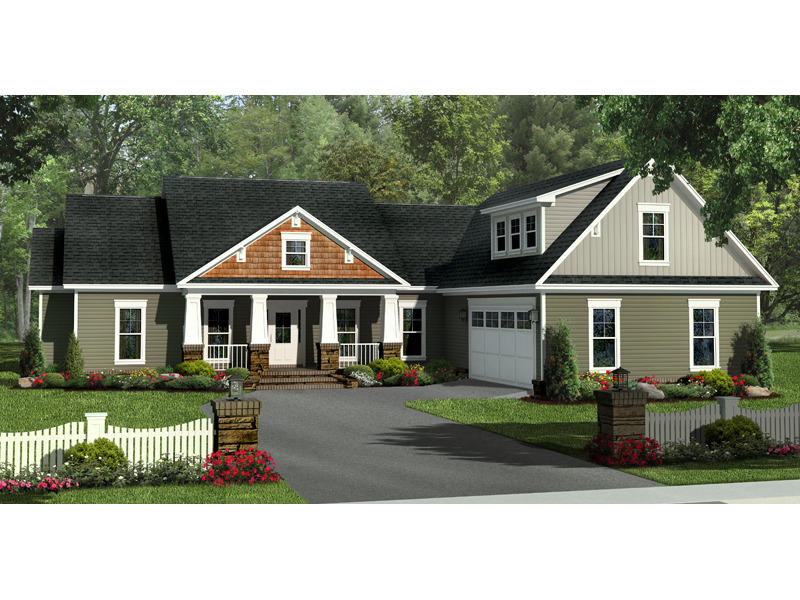 Craftsman House Plan Front of Home - 077D-0200 | House Plans and More