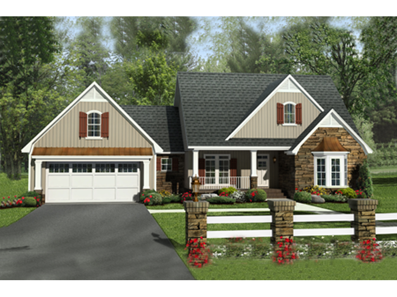 Ranch House Plan Front of Home - 077D-0201 | House Plans and More