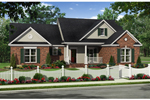 Farmhouse Plan Front of Home - 077D-0203 | House Plans and More