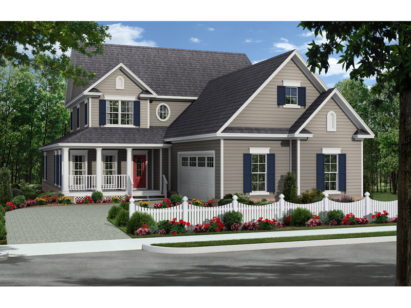 Farmhouse Plan Front of Home - 077D-0205 | House Plans and More