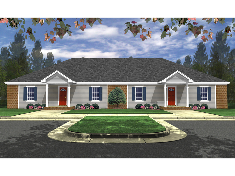 Multi-Family House Plan Front of Home - 077D-0207 | House Plans and More