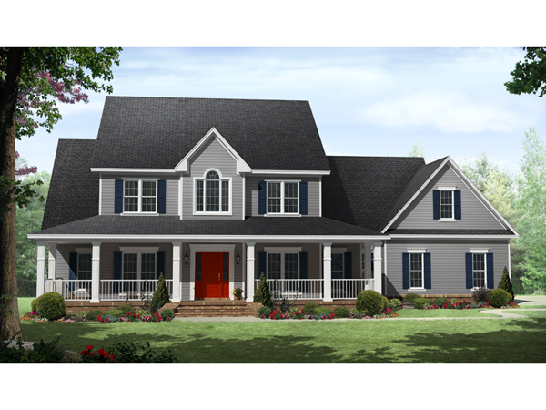 Bledsoe country home plan 077d 0211 house plans and more for Two story house plans with front porch