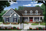Farmhouse Plan Front of Home - 077D-0214 | House Plans and More