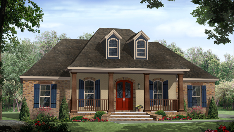 Ranch House Plan Front of Home - 077D-0217 | House Plans and More