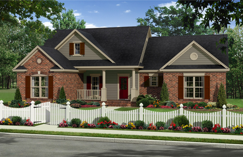 Ranch House Plan Front of Home - 077D-0218 | House Plans and More