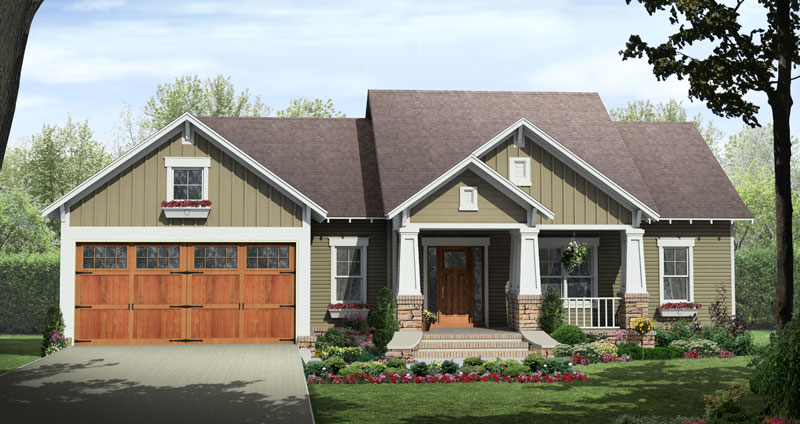 Craftsman House Plan Front of Home - 077D-0222 | House Plans and More