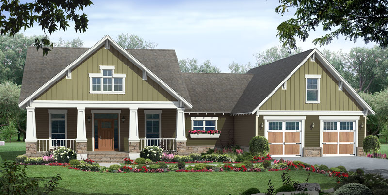 Craftsman House Plan Front of Home - 077D-0223 | House Plans and More