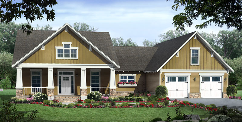 Ranch House Plan Front of Home - 077D-0224 | House Plans and More