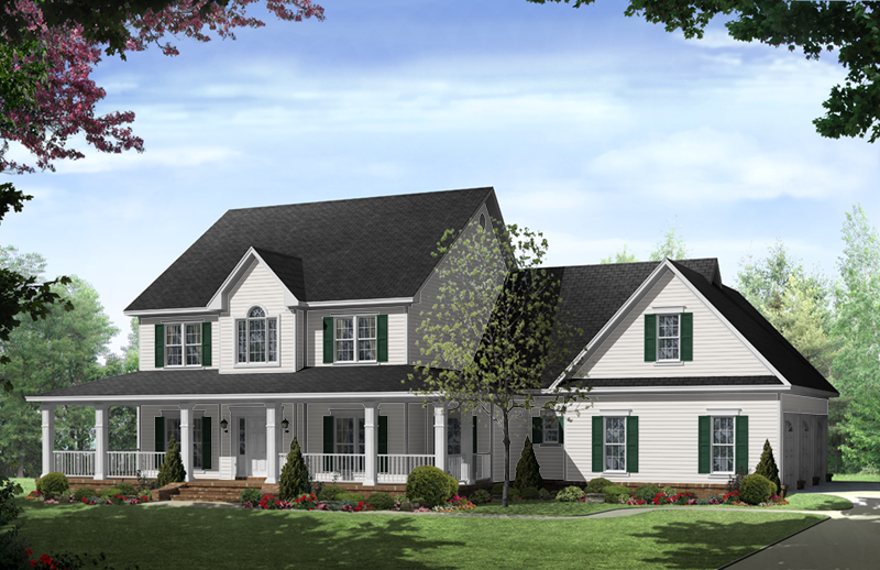 traditional house plan front of home 077d 0283 house plans and more - Country Home Plans