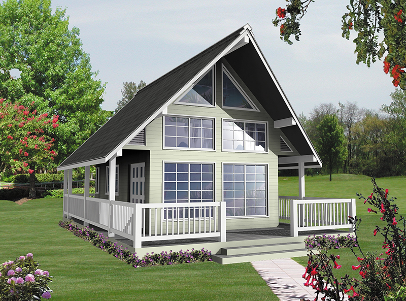 Lake House Plan Front of Home 080D-0001