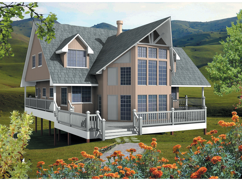 Terreview vacation lake home plan 080d 0009 house plans for Vacation home plans waterfront