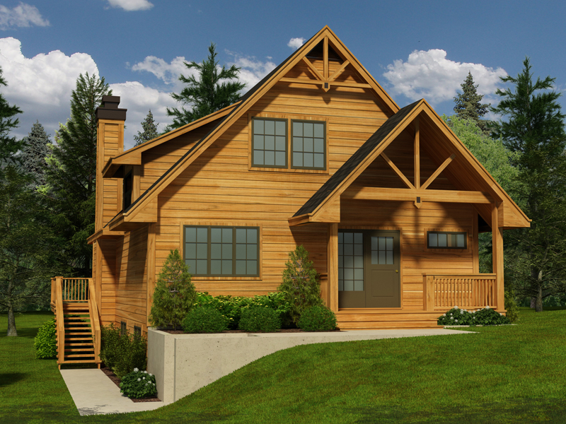 Cabin and Cottage Plan Front of Home - 080D-0016 | House Plans and More