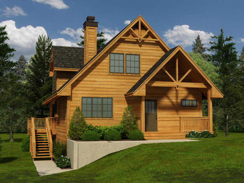 Cabin and Cottage Plan Front of Home - 080D-0017 | House Plans and More