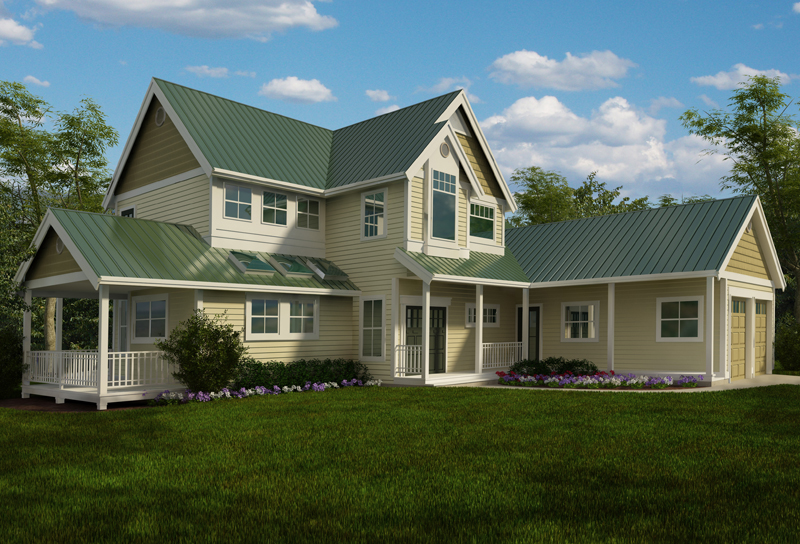 Farmhouse Plan Front of Home - 080D-0018 | House Plans and More