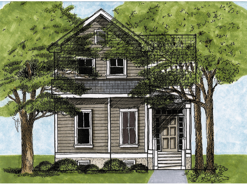 081D 0029 front main 8 - Get Small Narrow 2 Story House Plans Pics