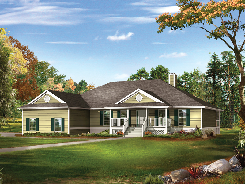 farm pond country ranch home plan 081d-0041 | house plans and more