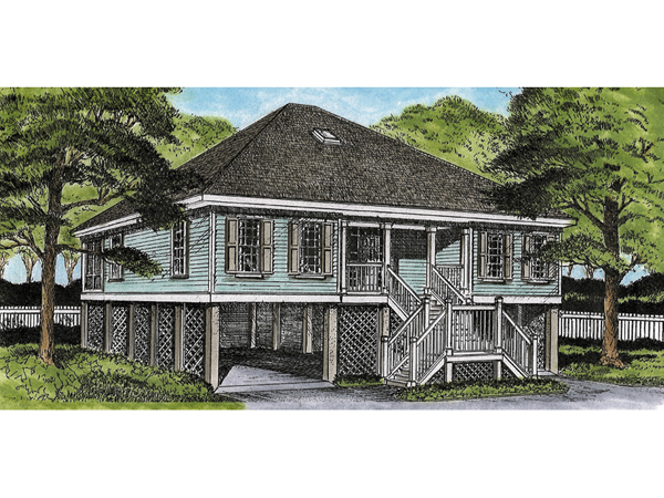 Green park raised cottage home plan 081d 0051 house for Raised cottage house plans