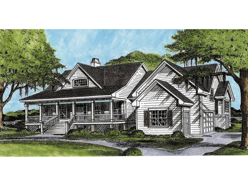 Ranch House Plan Front of Home 081D-0053