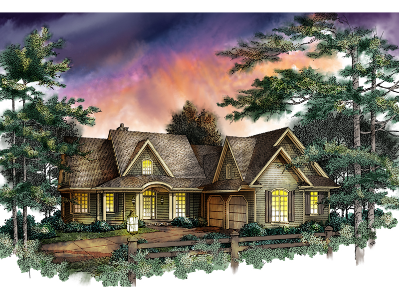 Country Style Home Has Gable Accents On The Roof