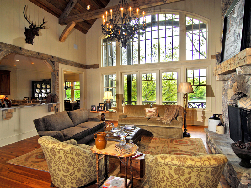 Rustic Home Plan Great Room Photo 02   082S 0002 | House Plans And More