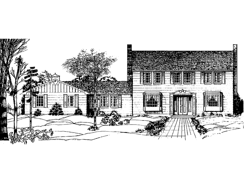 Symmetrical Colonial Two-Story House With Twin Chimneys